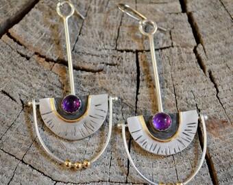 "Sterling silver amethyst earrings gold filled accents.  ""purple rain"""