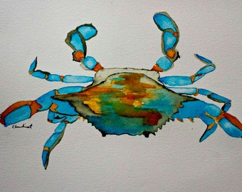 Atlantic Blue Crab with gold trim original watercolor painting nautical art beach