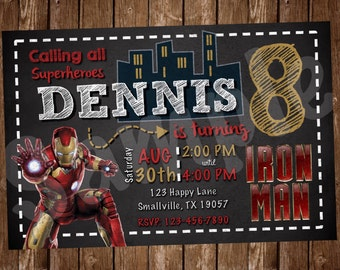 Iron Man Birthday Invitation (IM01)