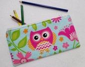 Patch work Owl print Pencil Case/ Crayon Case/Makeup Bag/ Cosmetic Case/ Ready to Ship