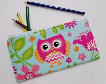 Patch work Owl print Pencil Case/ Crayon Case/Makeup Bag/ Cosmetic Case/ Ready to Ship