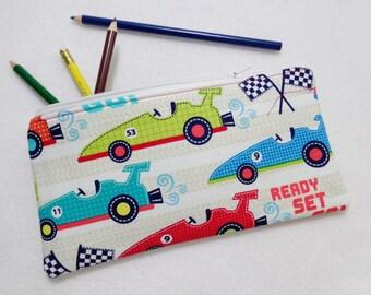 Race Car print Pencil Case/ Crayon Case/Makeup Bag/ Cosmetic Case/ Ready to Ship