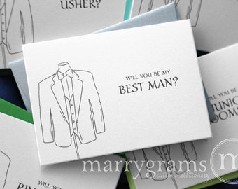 Suit, Tux Be My Groomsman Card, Best Man, Usher, Ring Bearer - Simple Wedding Cards for Guys to Ask Groomsmen, Bridal Party - (Set of 8)