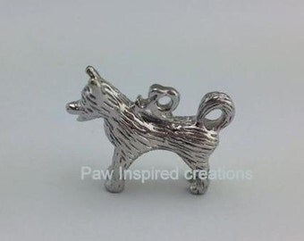 Siberian Husky Charm - Rhodium Plated 3D- Copyright on this Charm