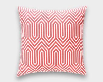 CLEARANCE 70% OFF Coral Geometric Decorative Pillow Cover. Pick a Size. Trail Maze. Coral Throw Pillow Cover. All Sizes.