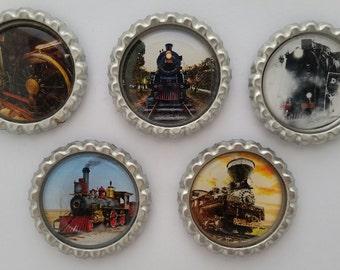 Trains Bottle cap magnets