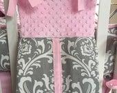 Diaper Stacker Gray Damask Pink Minky