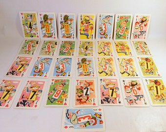 Vintage WHITMAN Playing Cards - Crazy Eights / PARTIAL DECK - Lot of 29 / Children's Game / 1950's / Craft Supply - Destash /