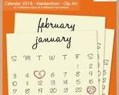 2016 HANDWRITTEN CALENDAR - Scrapbook Clip Art - Printable Digital Monthly Calendar - Instant Download