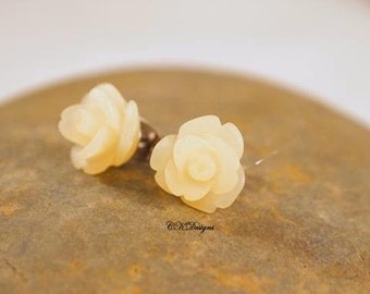 Frosted Resin Rose Earrings, Cream Rose Pierced Earrings. Girls Stud Earrings, Gift For a Girl or Teen  CKDesigns.us