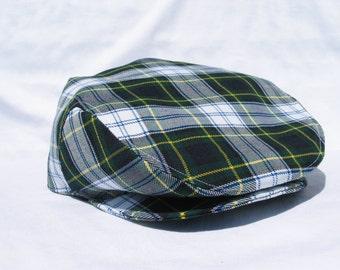 Dress Gordon Tartan Hat, Dress Gordon Flat Cap, Scottish Newsboy, Green Navy Plaid Hat,  Plaid Newsboy, Navy Green Plaid Flat Cap
