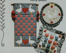 Fun & Games Quilt Pattern - Cardin Originals - Quilting Destash - Sewing Supplies - Checkers - Tic Tac Toe - Wall Hanging - Easy Applique