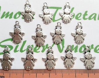 24 pcs per pack 18x12x1.5mm One side Small Baby Angel Charms Antique Silver Lead free Pewter.