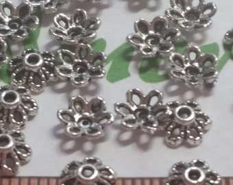 72 pcs per pack 6x3mm Filigree Tiny Bead Caps Antique Silver Finish Lead Free Pewter