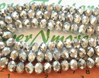 1 strand of 16 inches of 8x6mm Faceted Rondelle Metallic Silver Chinese Crystal