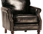 Cigar Club Chair in Black Leather