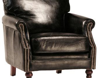 Cigar Club Chair in Black Leather