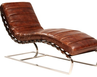 West LA Modern Leather Curved Chaisse
