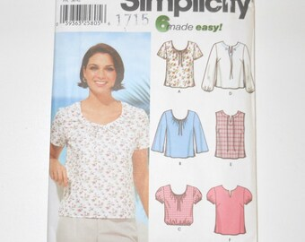 Simplicity 2002 Uncut 6 Made Easy Misses Tops In Two Lengths Sizes 8 10 12 14 Pattern Number 7223
