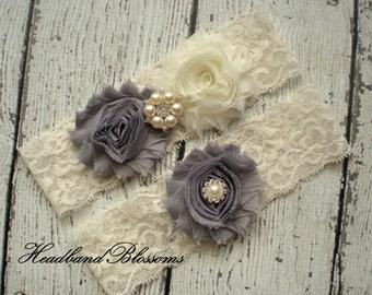 Beautiful GRAY Bridal Garter Set - Ivory Keepsake & Toss Wedding Garters - Chiffon Frayed Flowers Rhinestone Garters Ivory Grey