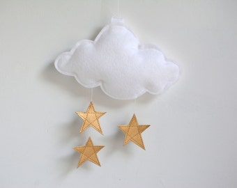 Cloud and Stars Baby Crib Mobile - Gold