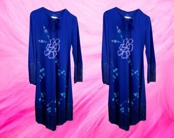 Blue Floral Fringe Bohemian Hippie Peasant Dress