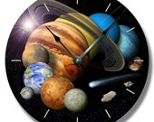 SOLAR SYSTEM pattern wall CLOCK - celestial outer space home decor - size comparison - 7144