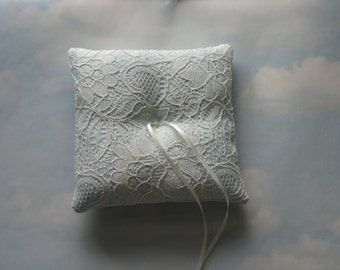 Wedding ring bearer pillow. Blue ring cushion for weddings.