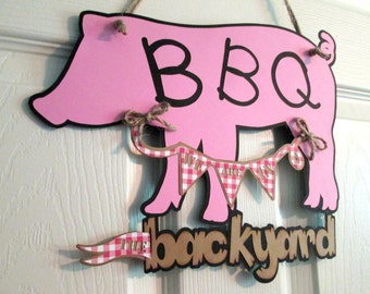 Barbecue Sign Party Sign Party Banner BBQ Sign Picnic Sign Outdoor Birthday Sign Door Wreath Door Sign Birthday Decoration Custom Sign