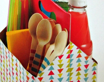 Utensil Caddy, Bath Caddy, Make Up Caddy, Party Decoration Utensil Holder, Rainbow Party Favor, Soda Caddy, Beer Caddy