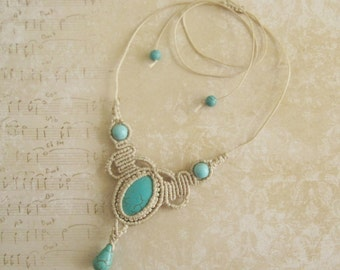 Turquoise Macrame Necklace - Micromacrame Necklace Micro-macrame