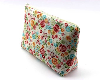 Floral Cosmetic Pouch,Zippered Medium Pouch,Gift For Her,Travel Pouch,Peony White