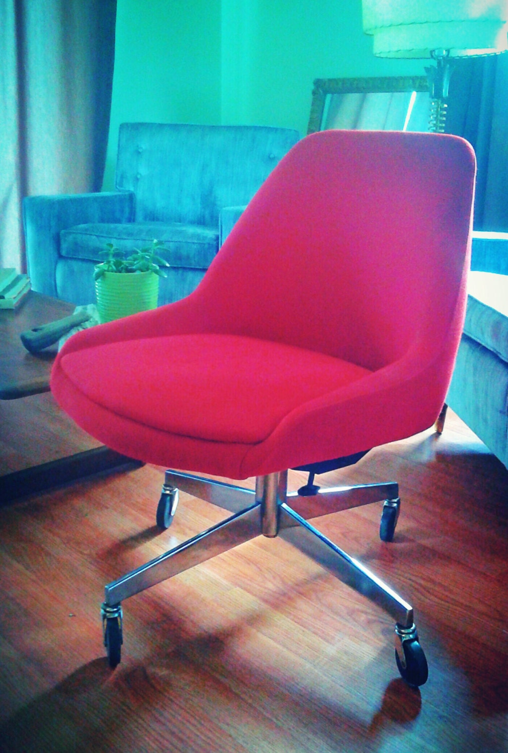 Vintage Mid Century Modern Red Knoll Fabric Steelcase
