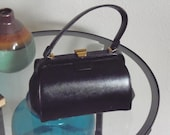 1950s Leather Handbag Structured Small Barrel Gold Hardware Purse Vintage Handbag Black  Mint Condition