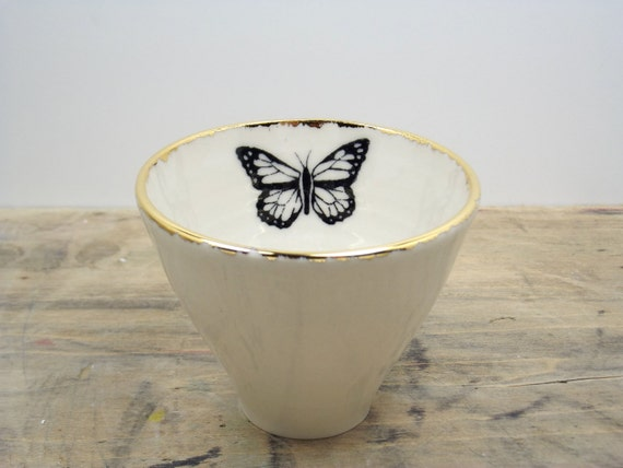 White & Gold Monarch Butterfly Porcelain 5oz. Small Tea Cup, Tea Bowl, Saki Cup