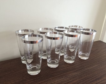 Set of 8 Vintage Dorothy Thorpe Allegro Pattern Silver Band Mid Century Highball Glasses Set of 8