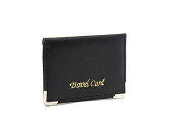 Vintage Black Leather Wallet, Travel Wallet