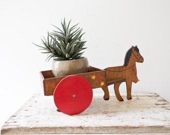 Vintage Horse Wagon Vintage Horse Planter Mid Century Farmhouse Plan Holder Carriage Wagon