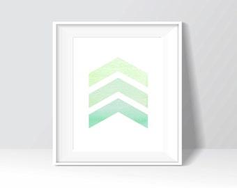 Green Modern Triangles Chevron Watercolor Digital Print, Wall Art