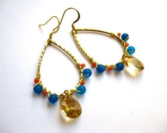 Tear shaped hoop earrings with blue agate, coral beads and golden Swarovski crystals
