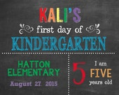 Simple Personalized First Day of School Chalkboard Sign - printable - any age, any grade -please read entire listing & view other previews