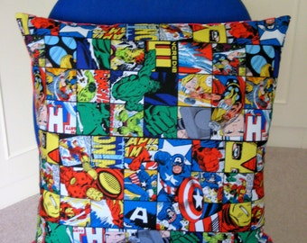Superhero Cushion Cover, Pillow Cover, Boy's Bedroom Decor, Red Striped and Comic Heroes