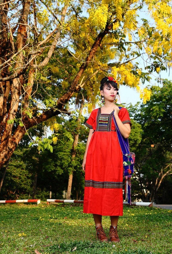 Korean style Karen Dress - Red  /Hippie /Ethnic/Vintage/Whole sale