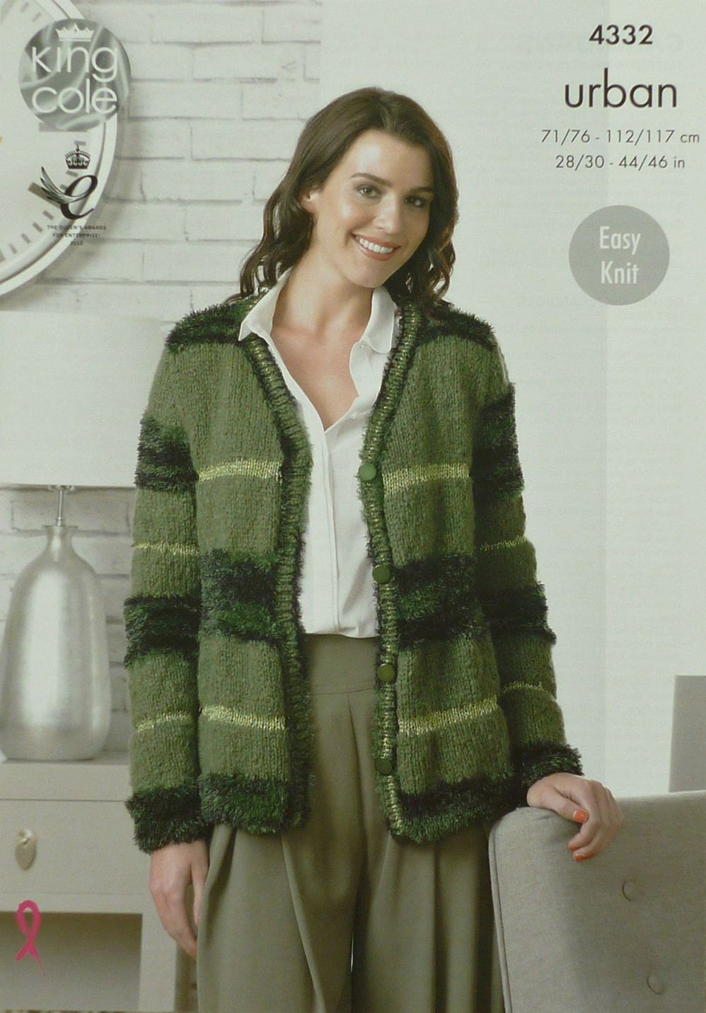 Womens Knitting Pattern K4332 Ladies Easy Knit Long Sleeve V-Neck Cardigan Kn...