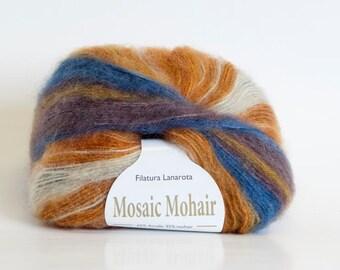 Sunset Swirl Mosaic Mohair Yarn from Filatura Lanarota
