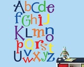 20% OFF SALE Alphabet Wall Decal LARGE Reusable Wall Decal - 326Lswa