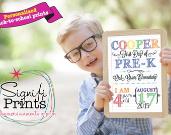 Personalized Back to School Prints! Colorful, cute and 8x10!