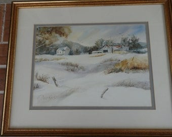 vintage watercolor art painting original signed E. Navikas Pennsylvania barn winter snow