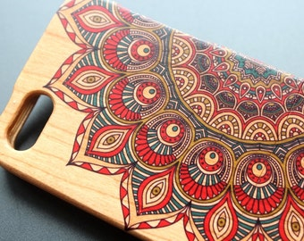 Natural Wood iPhone 5SE case iPhone 5 iPhone 5S case Painted Mandala iPhone cover - NW5003
