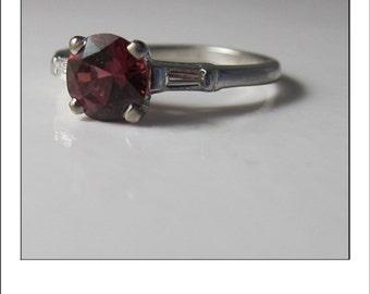 Vintage Platinum 1.5 Carats Pink Rubellite Tourmaline and Diamond Engagement Ring